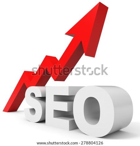 Graph up SEO arrow. 3D illustration. - stock photo