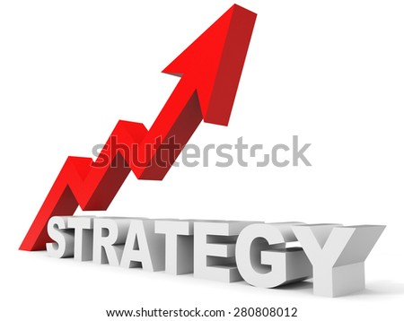 Graph up strategy arrow. 3D illustration.