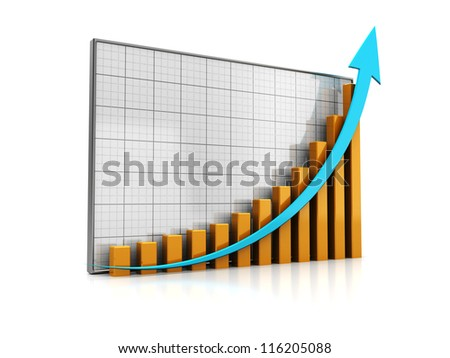 Graph with successful statistic isolated on a white background