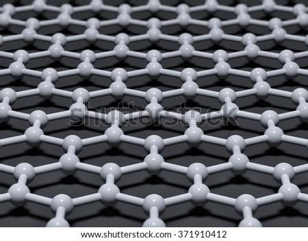 Graphene crystal atomic lattice background. 3D illustration - stock photo