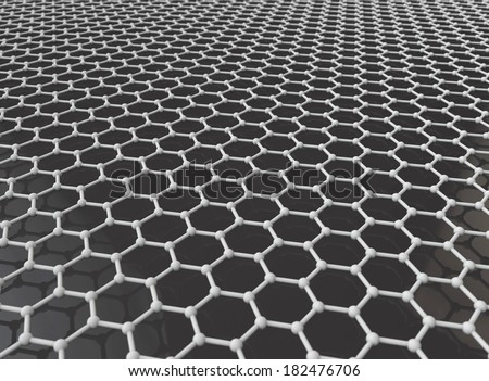 graphene crystal lattice 3d model - stock photo