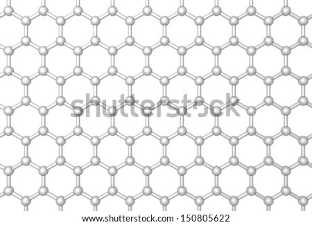 Graphene layer structure schematic model. Frontal 3d render illustration isolated on white - stock photo