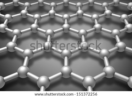 Graphene layered molecule structure schematic model. 3d render illustration - stock photo