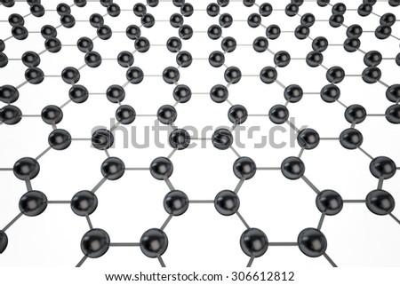 Graphene molecular mesh on white background - stock photo