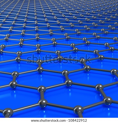 Graphene molecule structure forming a graphic or grunge blue background - stock photo