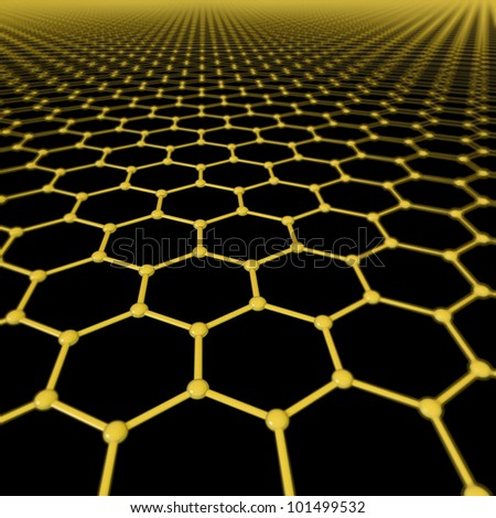 Graphene molecules forming a background with limited depth of field - stock photo