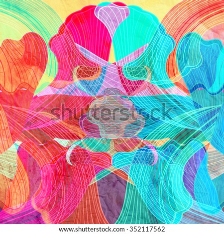 graphic abstract background with a different elements - stock photo
