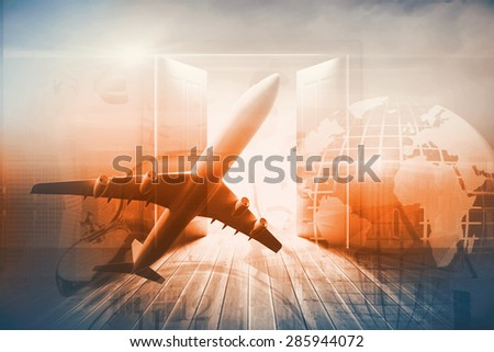 Graphic airplane against doors opening to reveal beautiful sky - stock photo