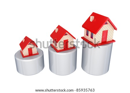 Graphic and three small houses.Isolated on white background. - stock photo