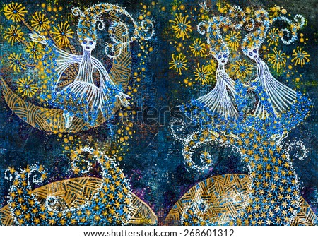 Graphic art: abstract fairy tale girls figures on crescent shapes surrounded by little stars on dark blue background - stock photo