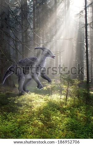 Graphic assembly painted dinosaur and photo of the forest - stock photo
