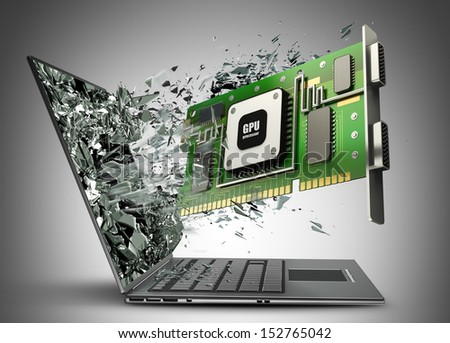 graphic card GPU exit by a monitor of laptop screen. High resolution 3d processor  - stock photo