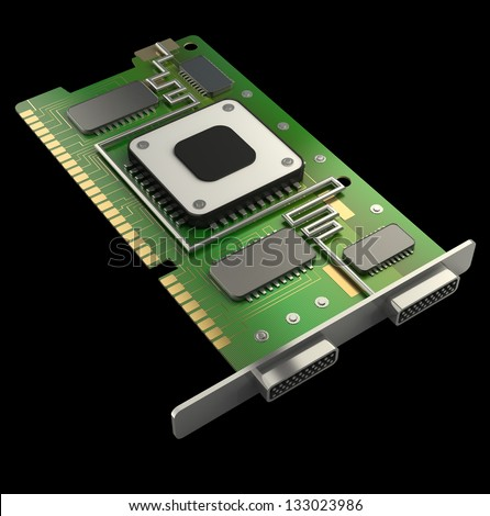 graphic card GPU isolated on black background 3d render - stock photo