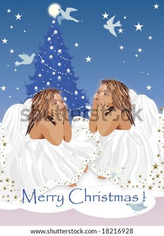 graphic christmas illustration - stock photo