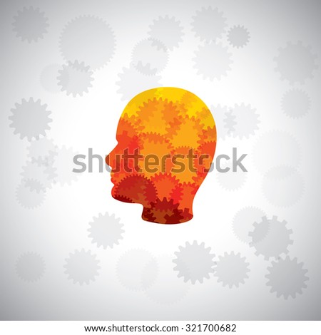 graphic concept - puzzle head of human face with gears & cogs. This graphic of human side face also represents intelligence, complex brain, human cyborg, machine man, human computer, etc - stock photo