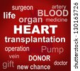 Graphic containing words concerning heart transplantation - stock vector
