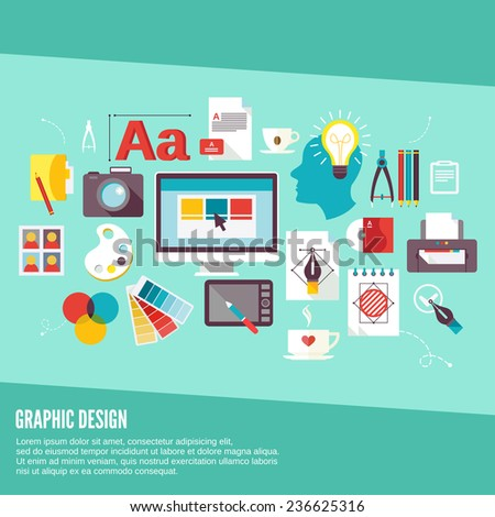Graphic design concept icons set with palette creativity process digital designer isolated  illustration - stock photo