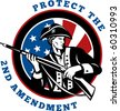 graphic design illustration of an American revolutionary soldier with rifle flag with wording text protect the 2nd amendment - stock photo