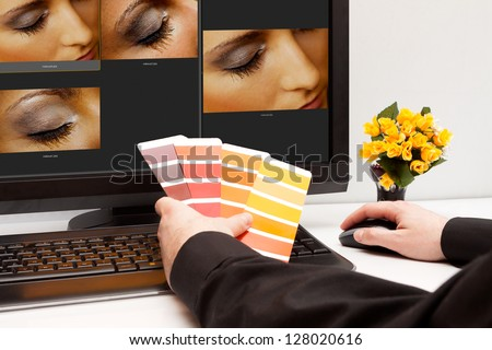 Graphic designer at work. Color samples. Photo picture woman eye and skin - stock photo