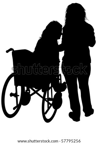 graphic disabled and women on a walk. Silhouettes of people