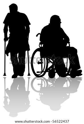 graphic disabled on a walk. Silhouettes of people - stock photo