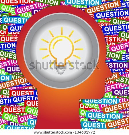 Graphic For Business Solution or Business Idea Concept Present By Red Head With Idea or Light bulb Sign Inside With Group of Colorful Question Label Background - stock photo