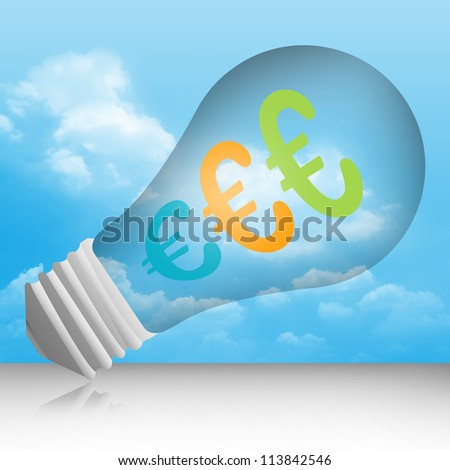 Graphic For Currency Concept, Euro Currency Symbols in The Light Bulb in Blue Sky Background - stock photo