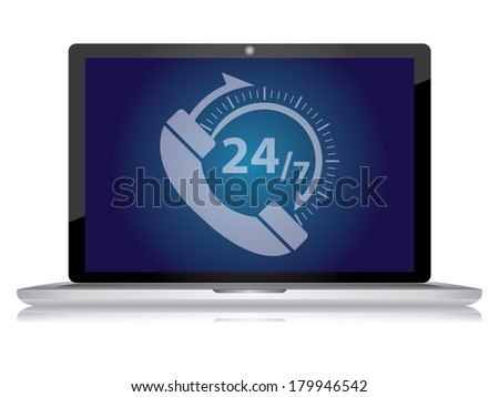 Graphic for E-Commerce Concept, Computer Laptop With 24/7 Customer Support or Call Center Sign on Blue Screen Isolated on White Background  - stock photo