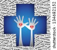 Graphic For Health Aid, Health Volunteer or First Aid Concept Present by Blue Cross With Raised Hands and Red Heart Inside in Donation Label Background - stock photo