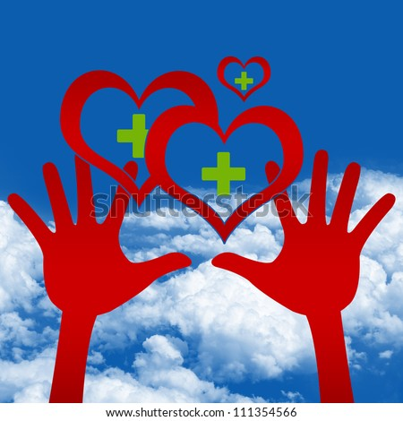 Graphic For Heart Donation Concept, Two Hands Holding Red Heart With Green Cross Inside in Blue Sky Background - stock photo