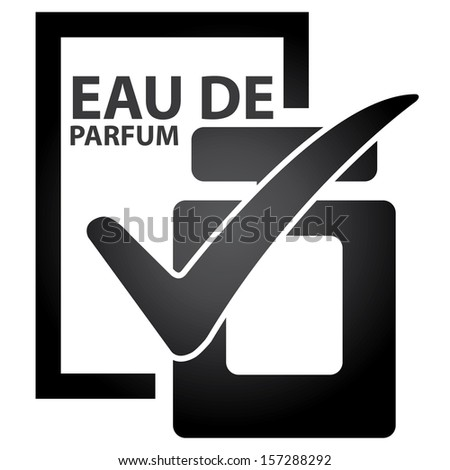 Graphic for Marketing Campaign, Product Information or Product Ingredient Concept Present By Black Glossy Style Eau De Parfum Bottle Sign With Check Mark Isolated on White Background  - stock photo