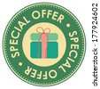 Graphic For Promotional Sale or Marketing Campaign Present By Circle Green Vintage Style Special Offer Icon, Badge, Label or Sticker With Gift Box or Present Sign Isolated on White Background  - stock photo