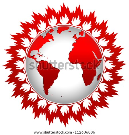 Graphic For Stop Global Warming Concept Present By Flame Around The Earth Isolate on White Background - stock photo