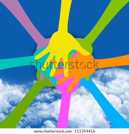 Graphic For Togetherness Concept Present With Colorful Hand Together in Blue Sky Background - stock photo