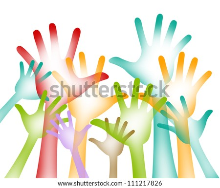 Graphic For Volunteer Campaign Present By A Lot of Colorful Hands Raising Isolated on White Background
