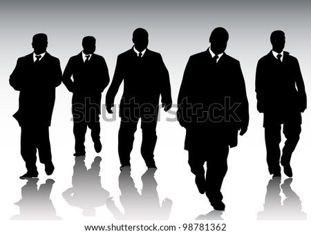 graphic group of businessmen on background of crowd