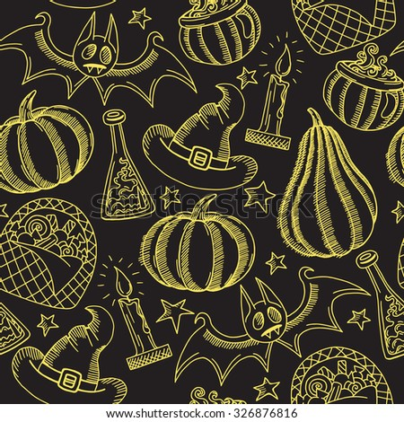 Graphic halloween pattern golden on black, hand drawn halloween background with pumpkins, wizard hat, candy, magic pot and candle in doodle style - stock photo