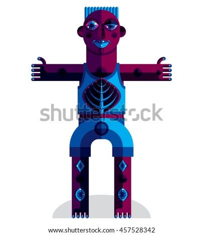 Graphic illustration, anthropomorphic character isolated on white, decorative modern avatar made in cubism style.  - stock photo