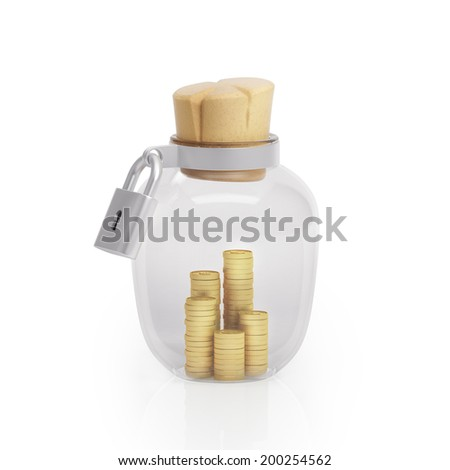 Graphic illustration icon glass jar with money and closed on the lock plug on a white background - stock photo
