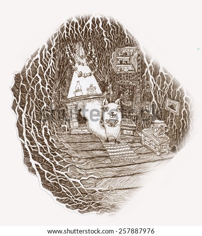 Graphic illustration pen and ink. Squirrel preparing a meal at home in a hollow tree - stock photo