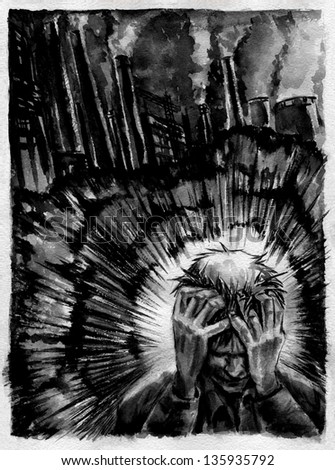 Graphic novel part # 1. Illustration of a sci-fi graphic novel about environment pollution. Black watercolor on a paper. - stock photo