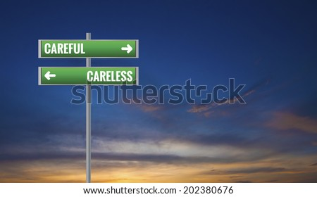 Graphic of a Careful and Careless Road Signs on Sunset Background