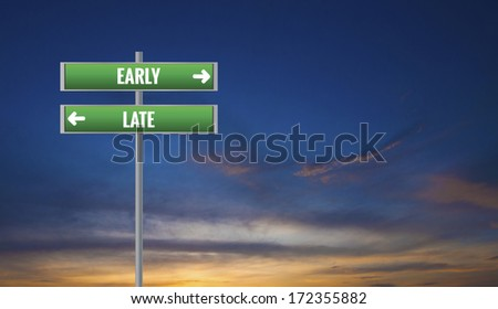Graphic of a Early and Late Road Signs on Cloud Background