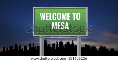 Graphic of a green Mesa, Arizona of United States largest cities sign on silhouette skyline and sunset background - stock photo