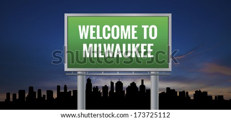 Graphic of a green Milwaukee, Wisconsin of United States largest cities sign on silhouette skyline and sunset background - stock photo