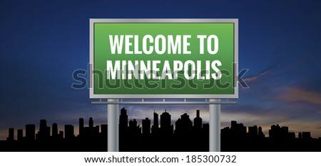 Graphic of a green Minneapolis, Minnesota of United States largest cities sign on silhouette skyline and sunset background - stock photo