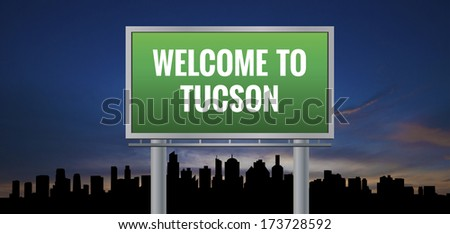 Graphic of a green Tucson, Arizona of United States largest cities sign on silhouette skyline and sunset background - stock photo