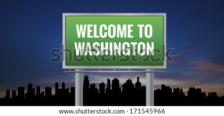 Graphic of a green Washington, District of Columbia of United States largest cities sign on silhouette skyline and sunset background - stock photo
