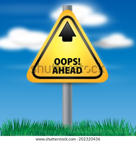 Graphic of a yellow Oops! Ahead Road Sign on Cloud Background - stock photo