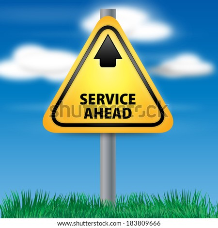 Graphic of a yellow Service Ahead Road Sign on Cloud Background - stock photo